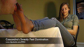 Sweaty nylon feet joi